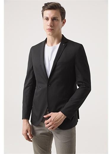 Tween Tween Slim Fit Bej Kumaş Ceket Siyah